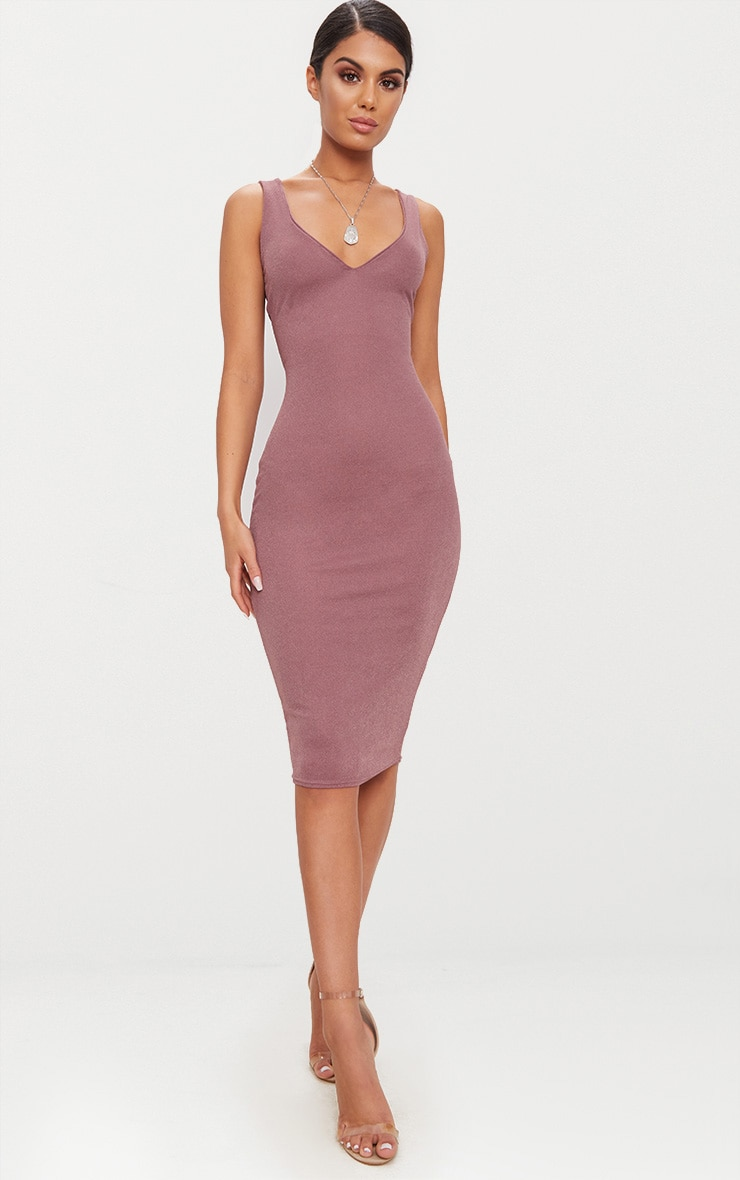 Dark Mauve Square Neck Strap Detail Extreme Split Midi Dress 1