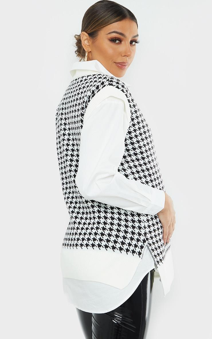 Maternity Black Dogtooth V Neck Knitted Side Split Vest 2