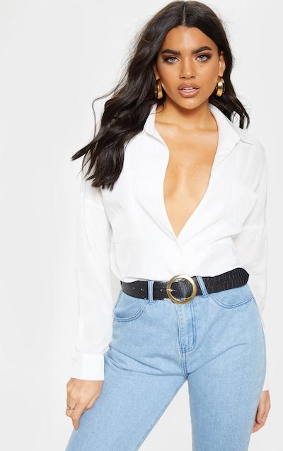 c6f9127559ceaf White Cotton Pocket Front Oversized Shirt
