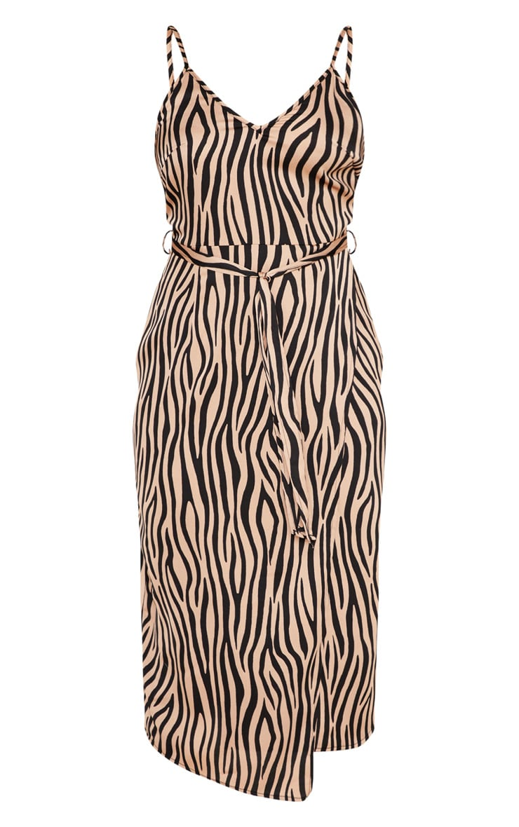 Tan Tiger Print Wrap Slip Dress 3