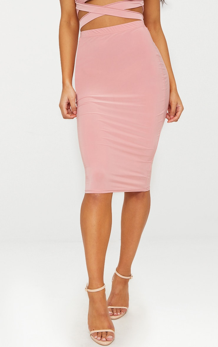 Rose Slinky Midi Skirt  2