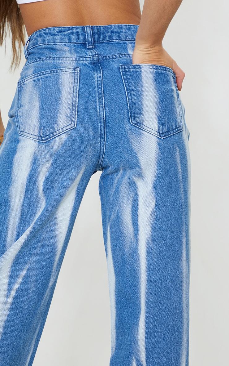 Mid Blue Wash High Waist Tie Dye Wide Leg Jeans 4