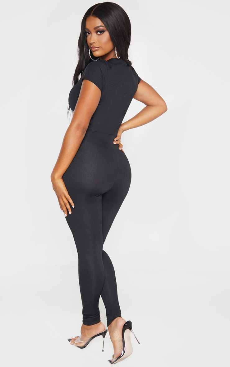 Shape Black Ribbed Ruched Cut Out Jumpsuit 2
