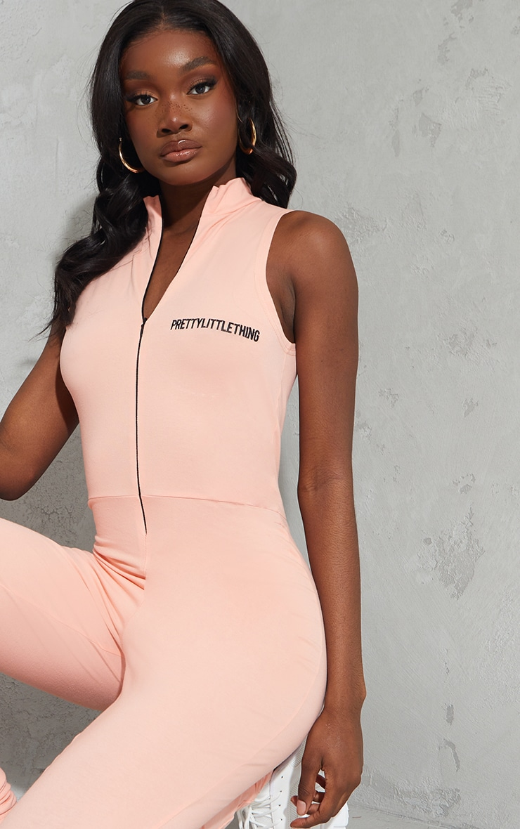 PRETTYLITTLETHING Tall Peach Embroidered Sleeveless Catsuit 4