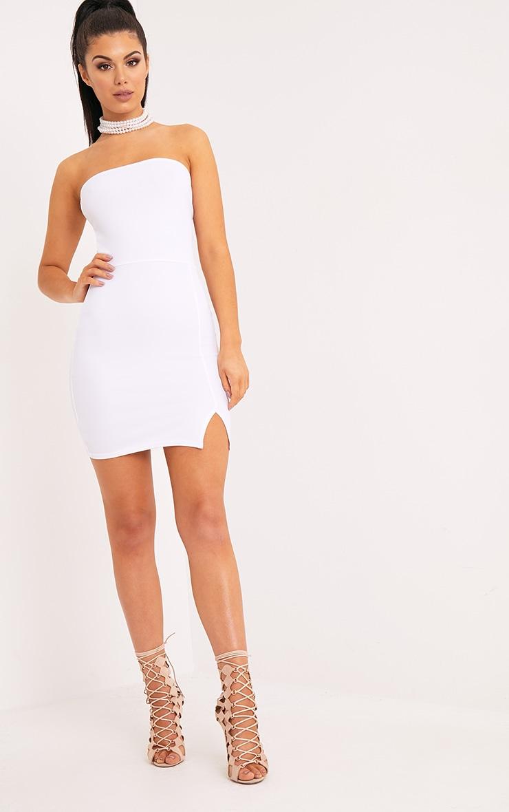 Layala White Split Detail Bandeau Bodycon Dress 4