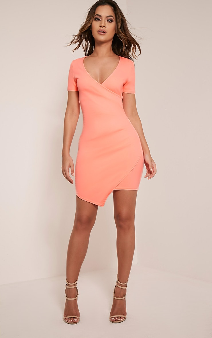 Amarnie Neon Coral Capped Sleeve Crepe Bodycon Dress 5