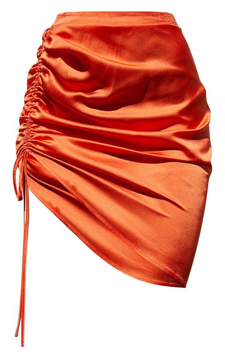 Orange Ruched Front Mini Skirt 6