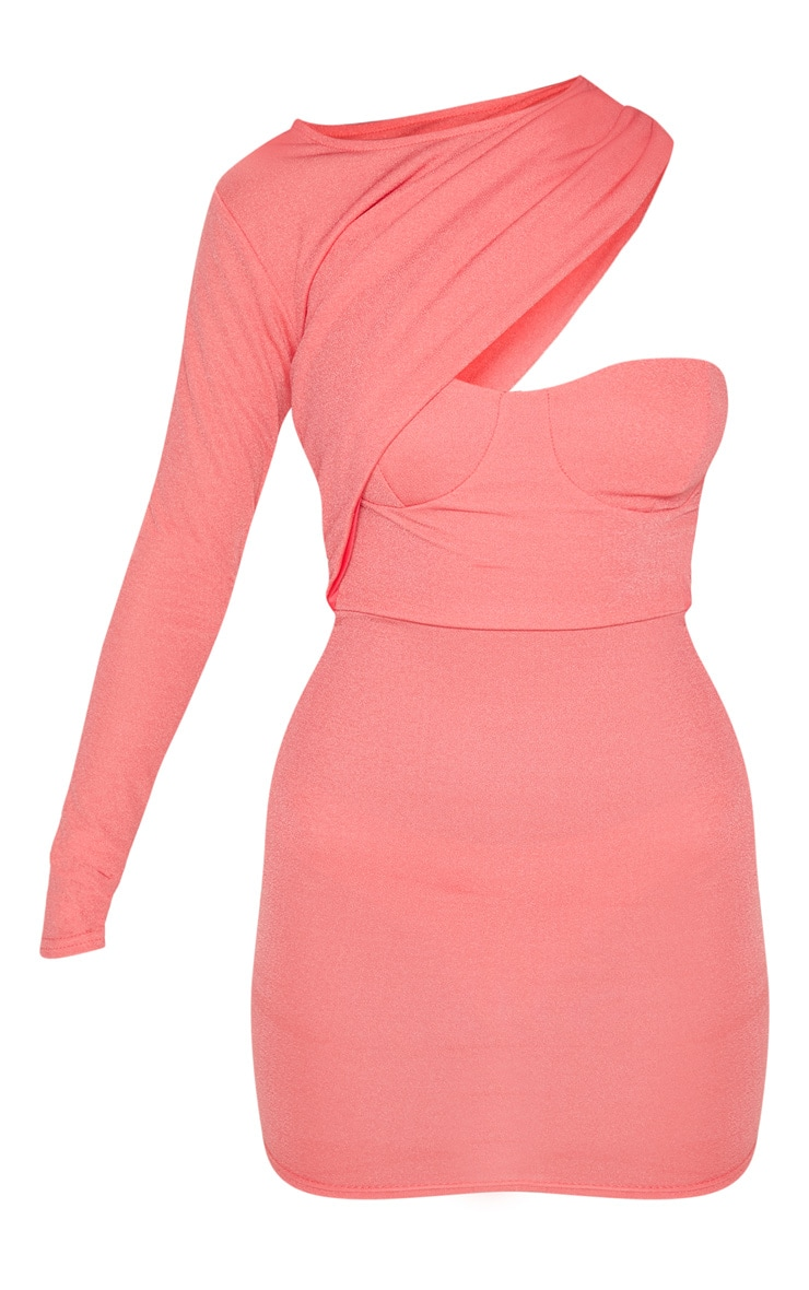 Coral One Shoulder Detail Bodycon Dress 3