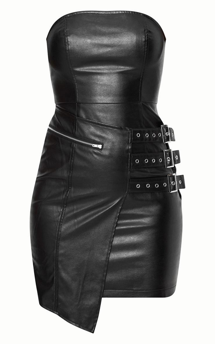 Black Faux Leather Buckle Detail Bandeau Bodycon Dress 3