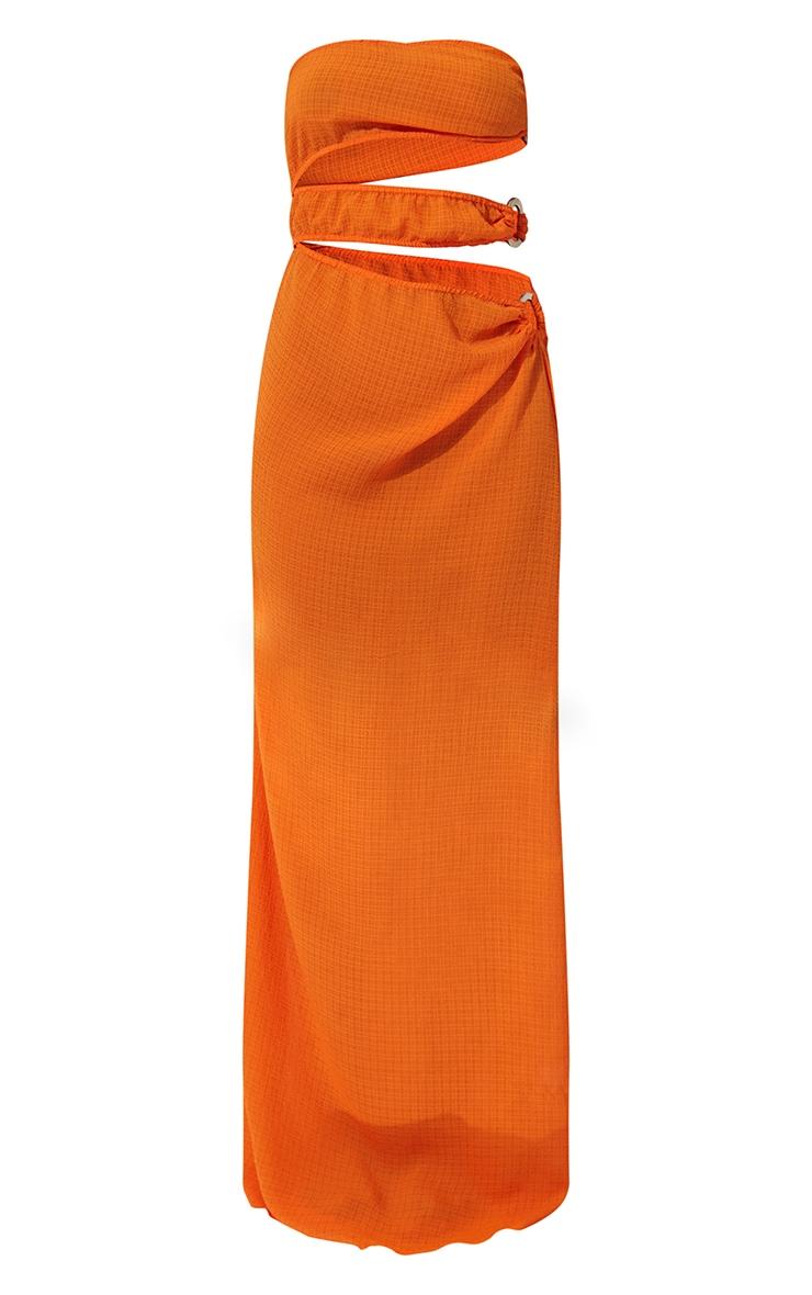 Orange Mini Crinkle Ring Cut Out Beach Dress 5
