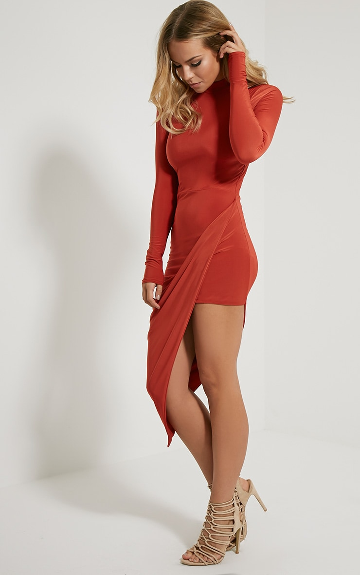 Saffy Rust Long Sleeve Drape Dress 1