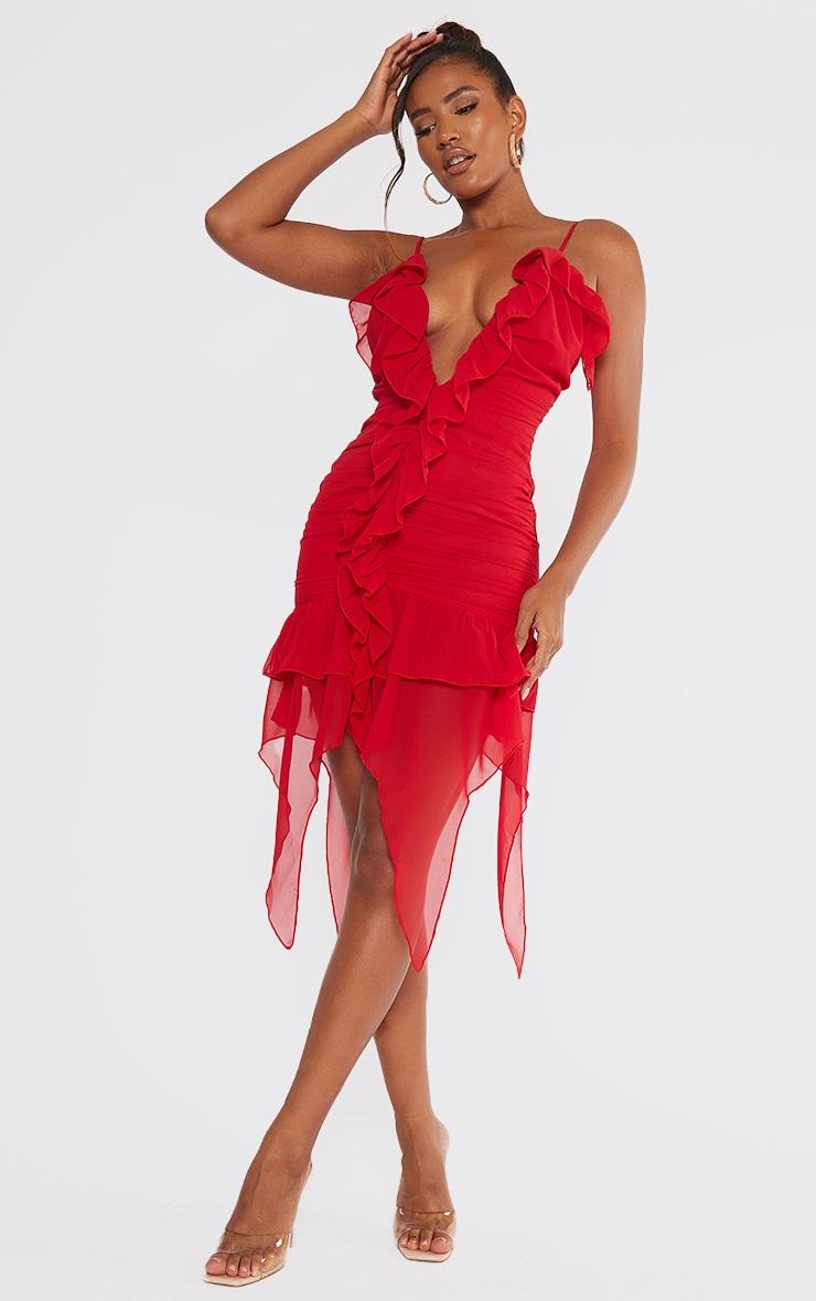 Red Chiffon Ruffle Detail Strappy Bodycon Dress 1