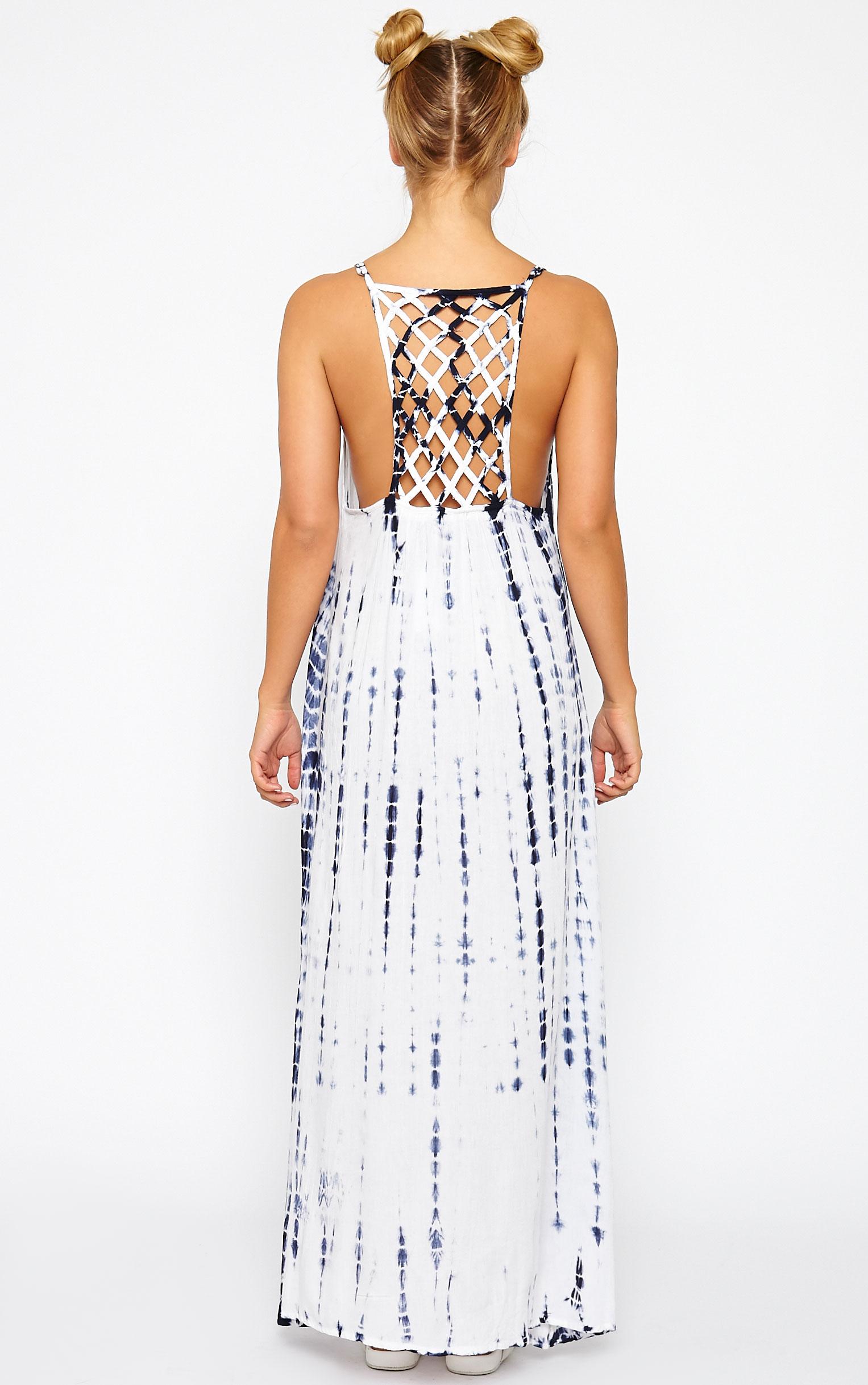 Amoura Blue Tie Dye Lattice Back Dress 2