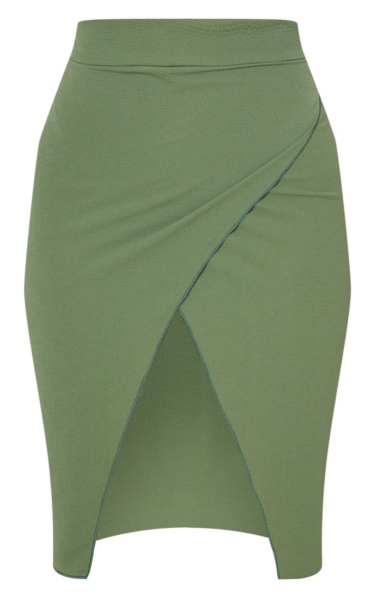 Petite Khaki Wrap Pencil Skirt  3
