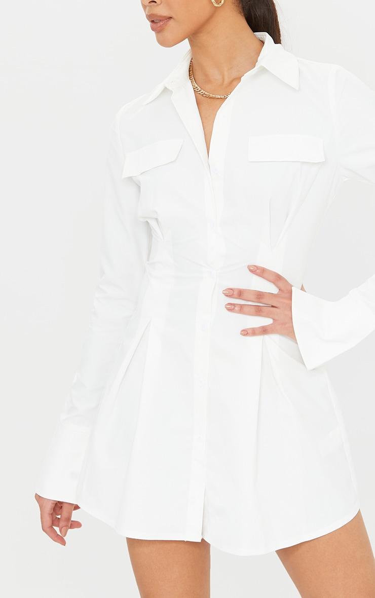 Tall - Robe chemise cintrée blanche à poches cargo 4