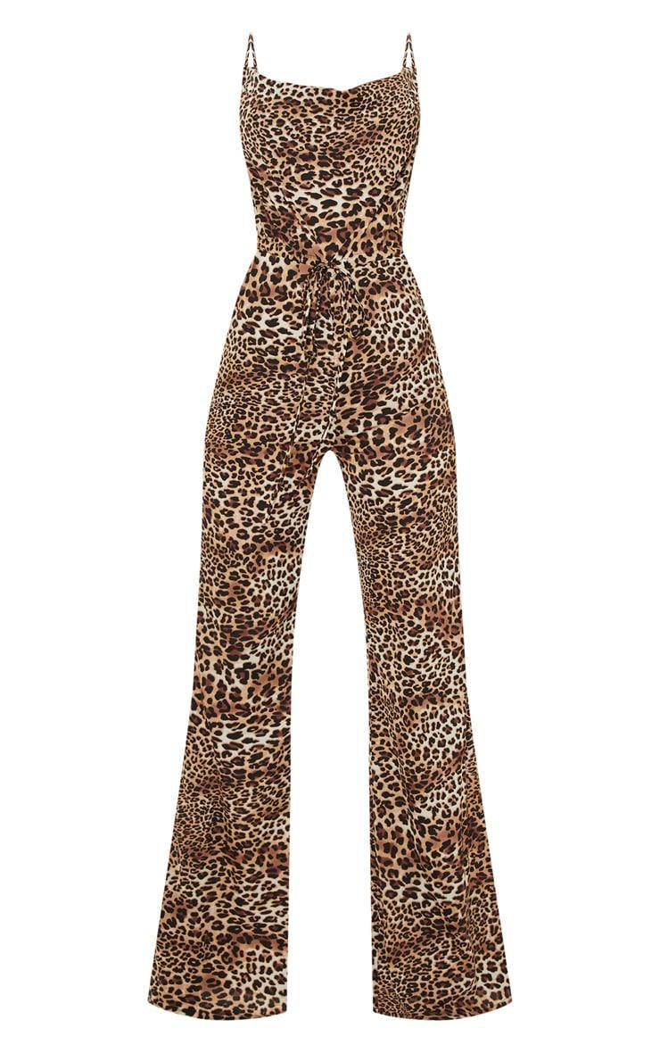 Tan Leopard Print Cowl Neck Jumpsuit 3