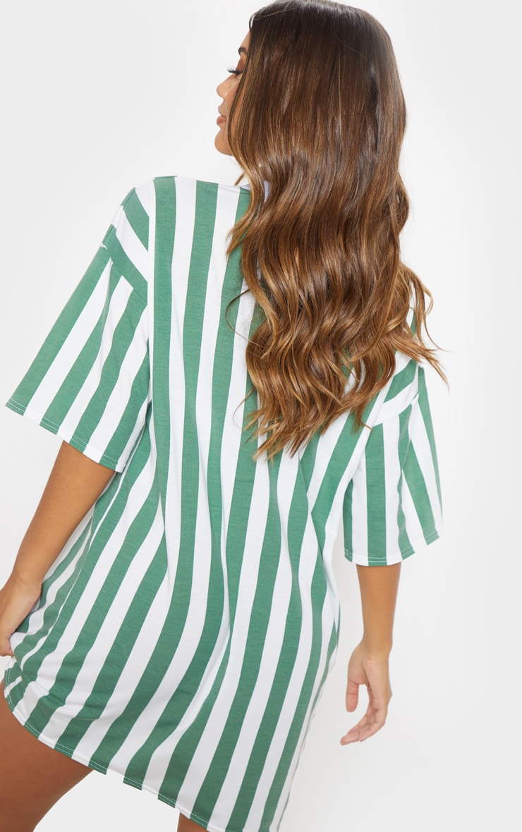 Khaki Vertical Stripe Oversized Boyfriend T Shirt Dress 2