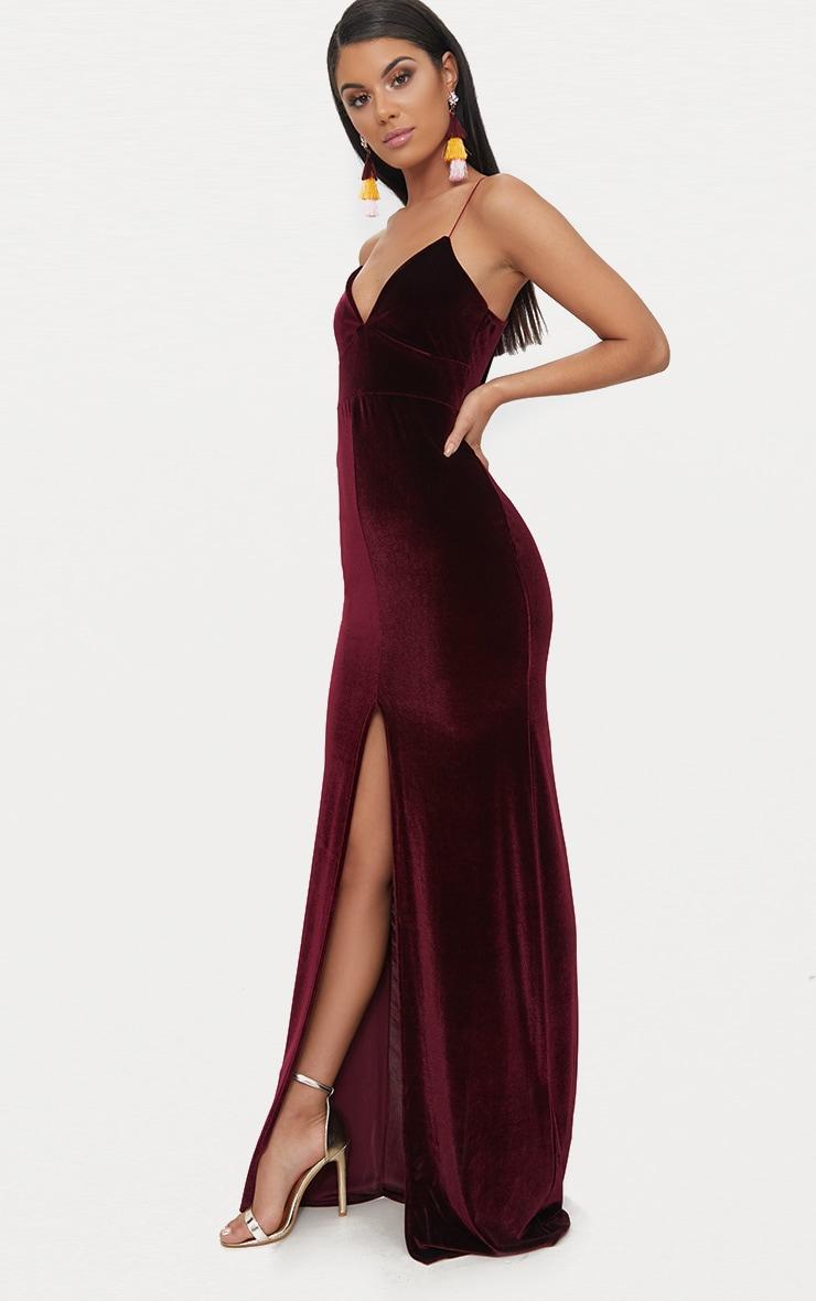 Burgundy Velvet Plunge Strappy Split Detail Maxi Dress 4