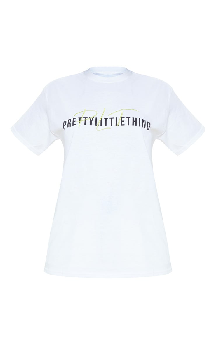PRETTYLITTLETHING White Print Oversized T Shirt 3