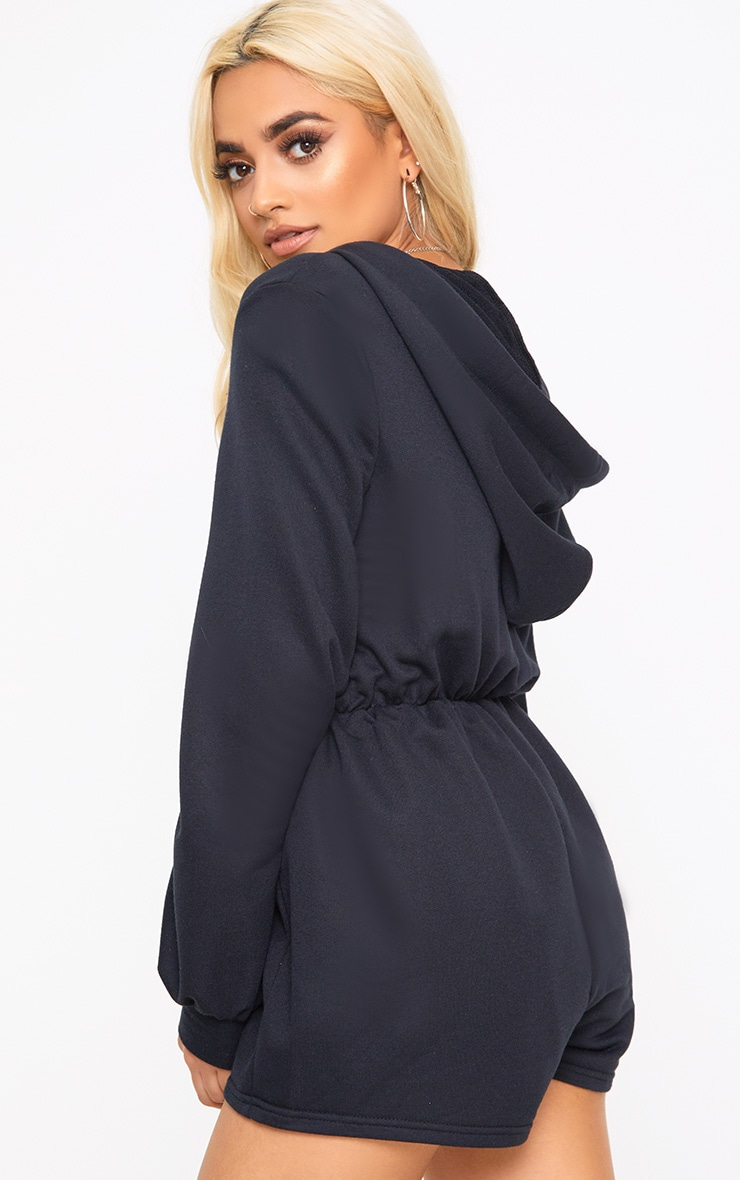 Petite Adalyn Black Zipped Front Hooded Playsuit  2