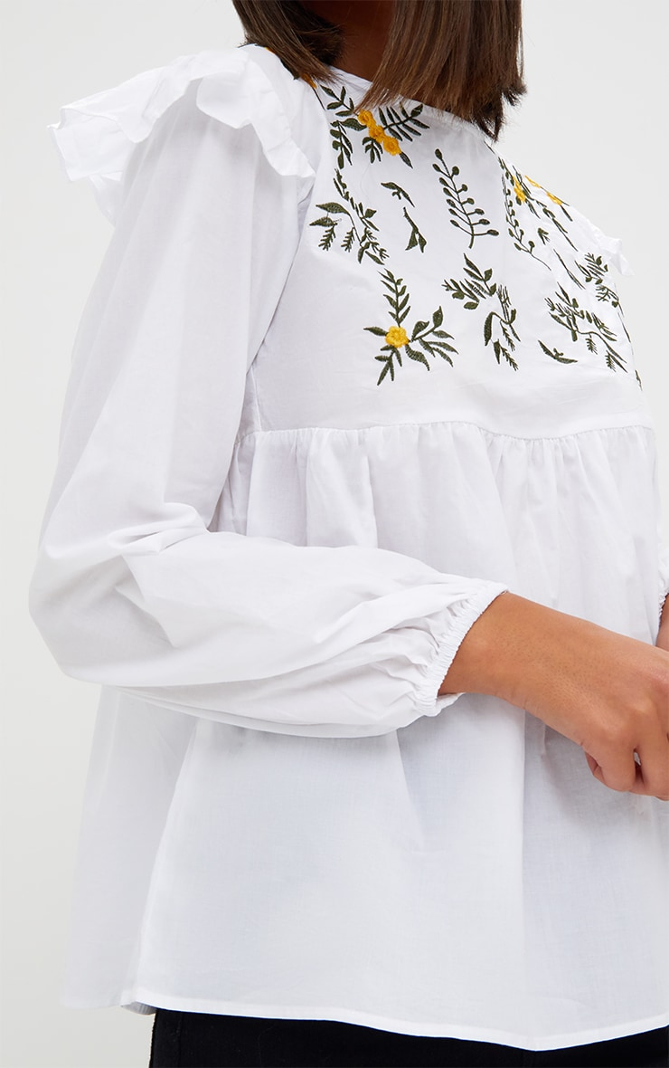 White Embroidered Frill Long Sleeve Shirt  5