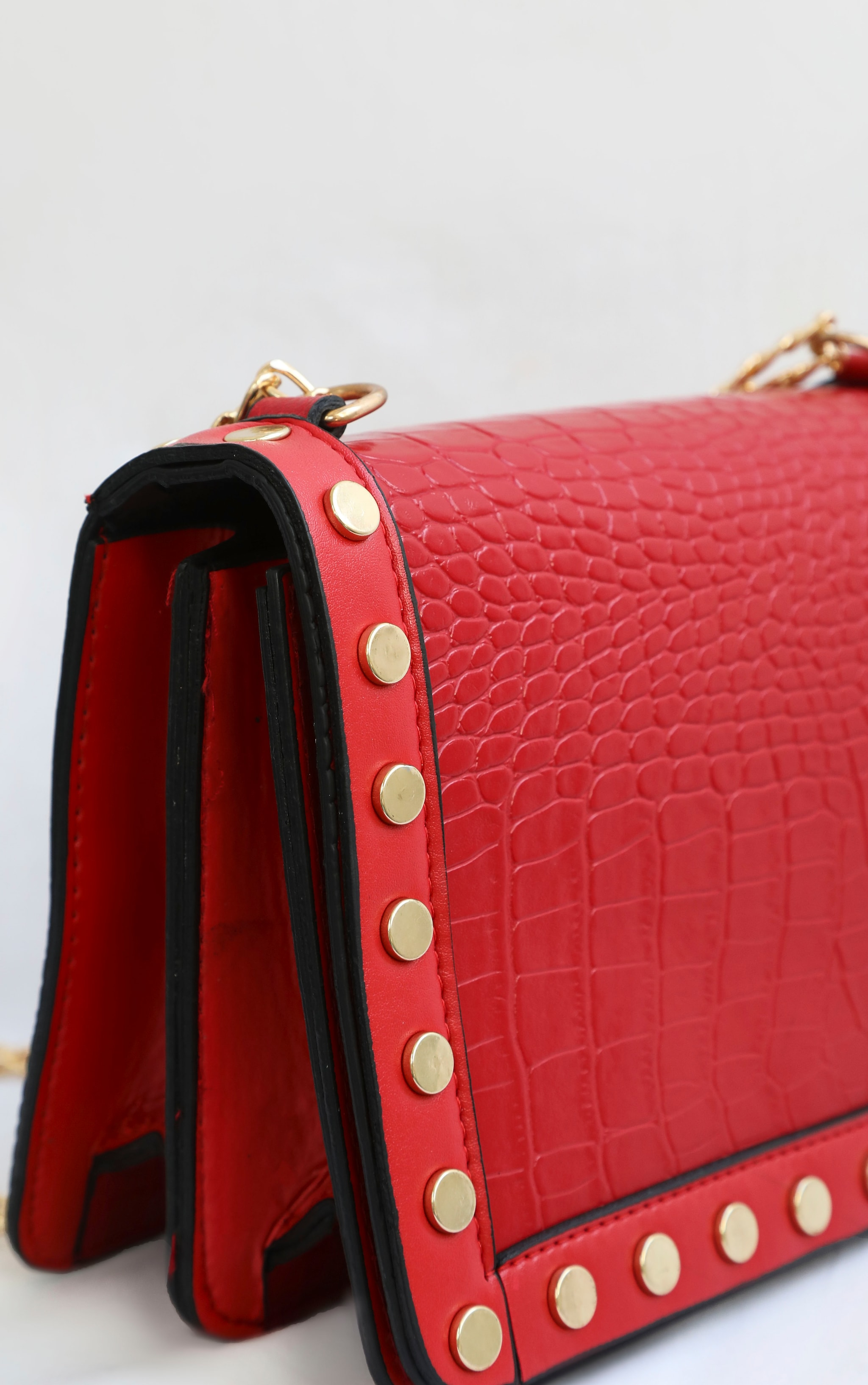 Red Studded Croc Cross Body Bag 4