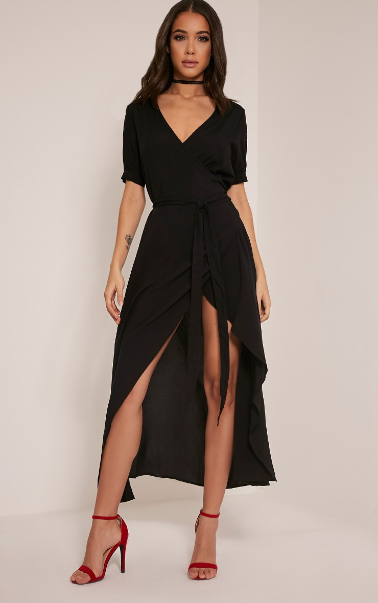 Renesmee Black Wrap Maxi Shirt Dress 9