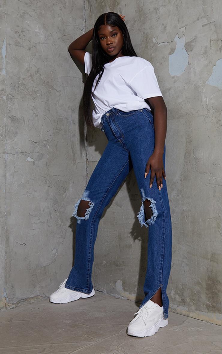 Tall Mid Wash Distressed Knee Split Hem Denim Jeans 1