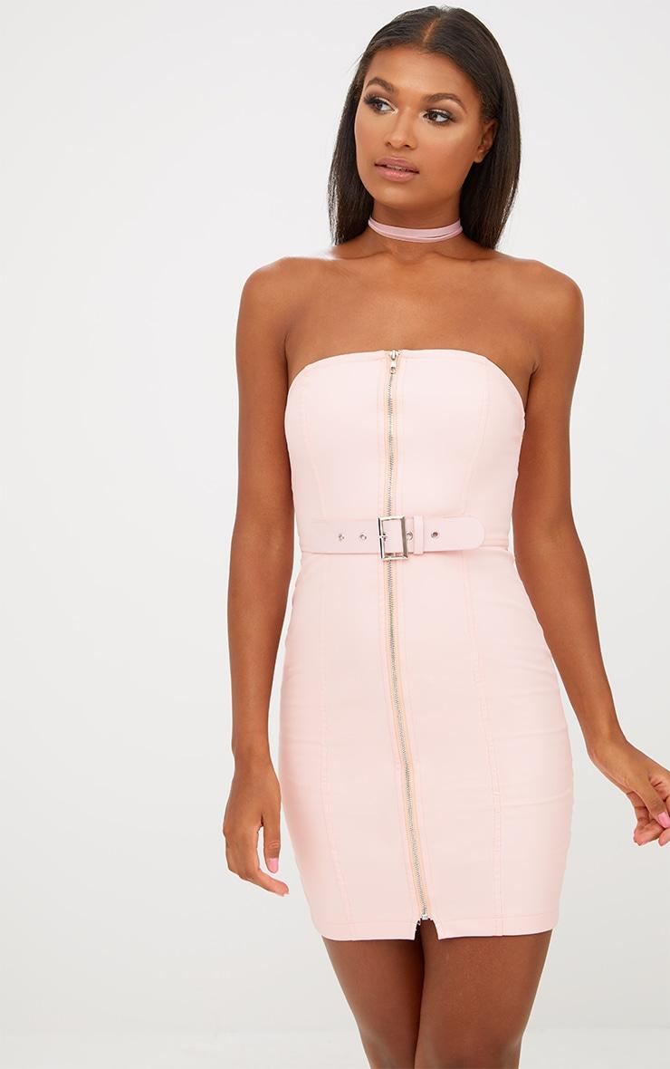 Nude Faux Leather Belt Detail Bodycon Dress 1