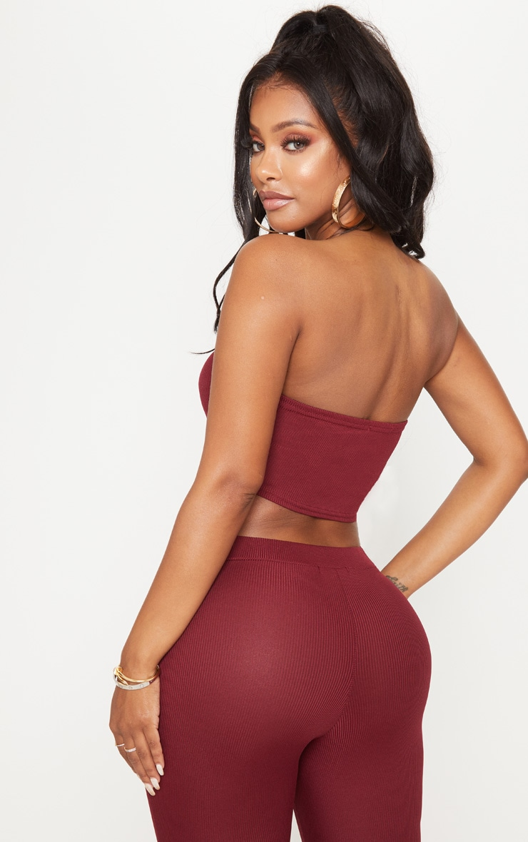 Shape Burgundy Ribbed Bandeau Crop Top 2