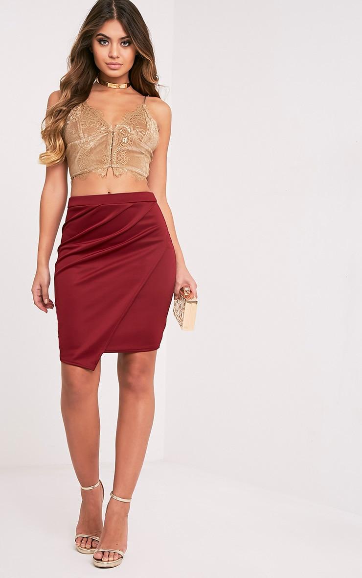 Sherianne Burgundy Wrap Midi Skirt 1
