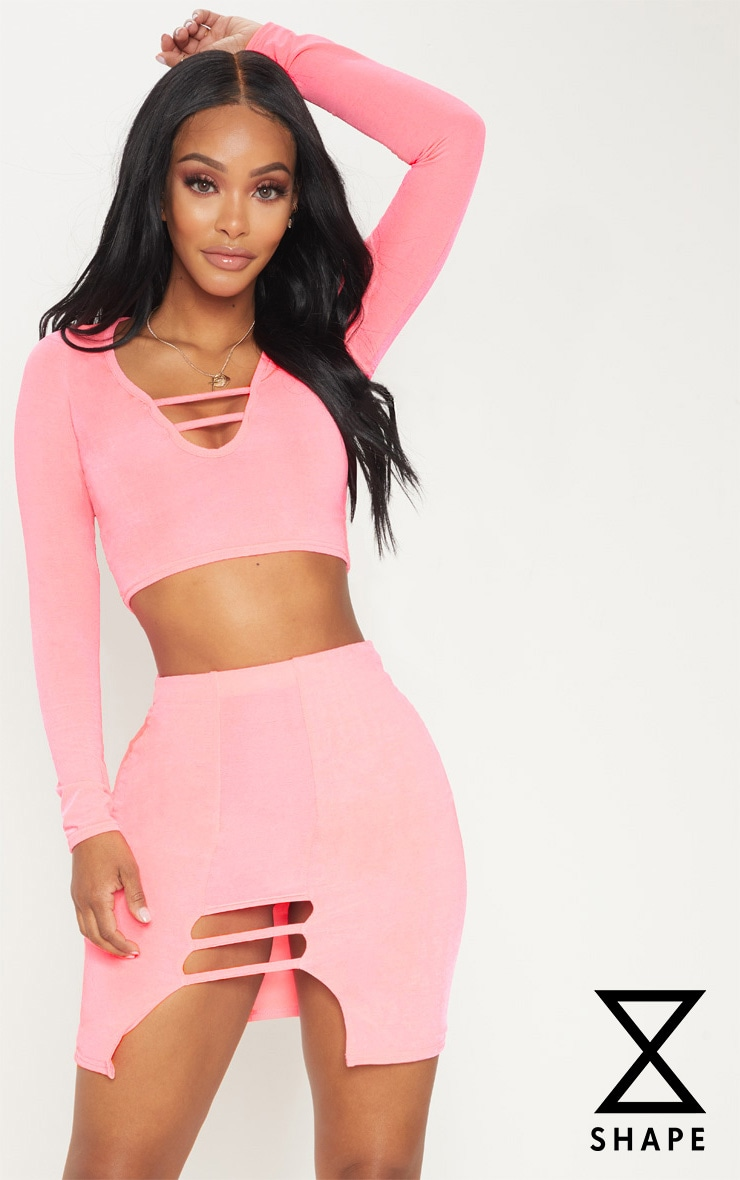 Shape Neon Coral Slinky Cut Out Detail Bodycon Skirt