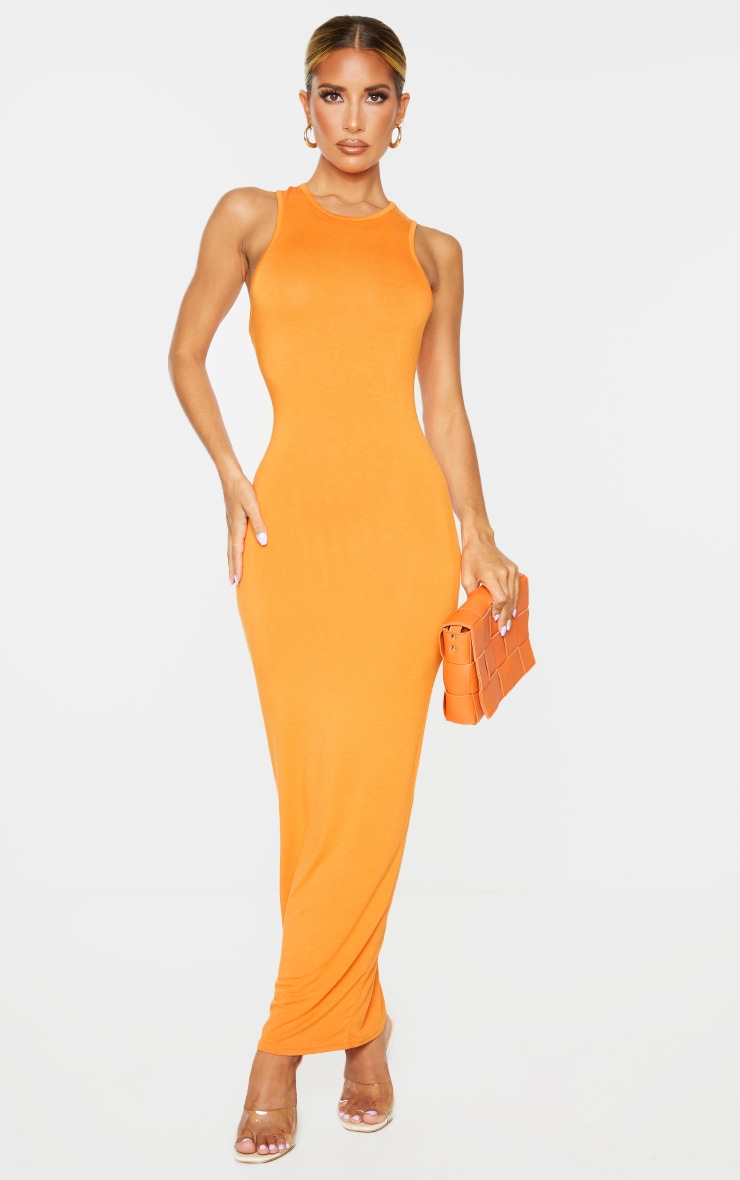 Orange Racer Neck Jersey Midaxi Dress 1
