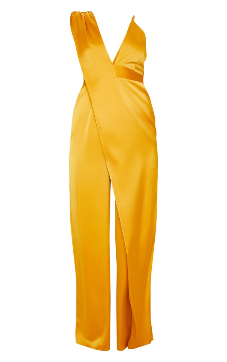 Mustard Asymmetric Drape Detail Wide Leg Jumpsuit 3