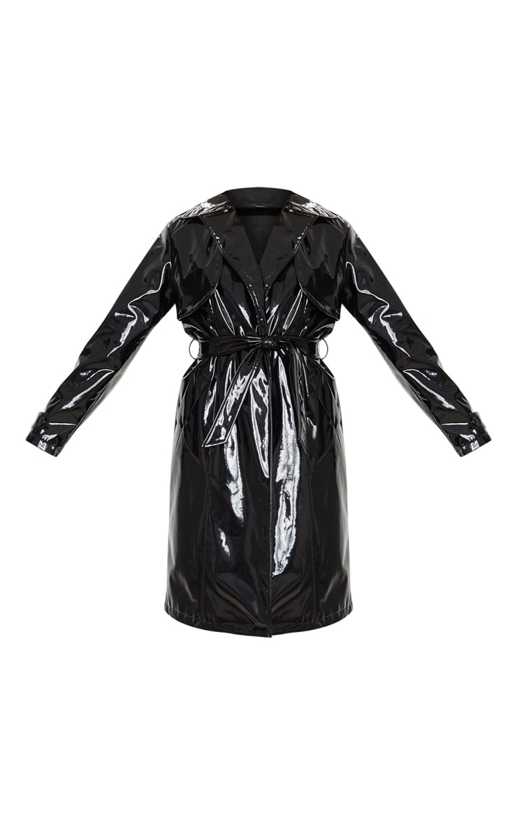 Black Belted Patent Trench Coat 5
