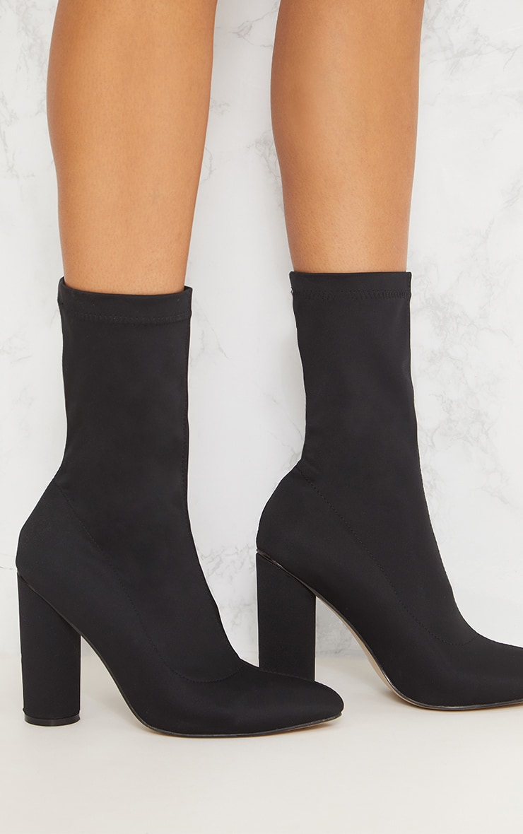 Black Block Heel Sock Boot 5