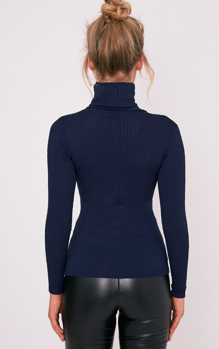 Rheta Navy Ribbed Polo Neck Top 3