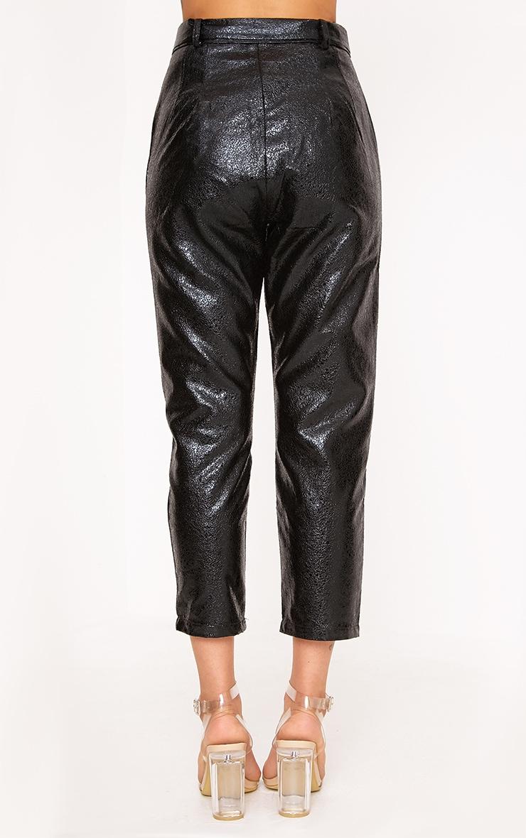 Leanne Black Tie Waist Crack Vinyl Crop Trousers 4