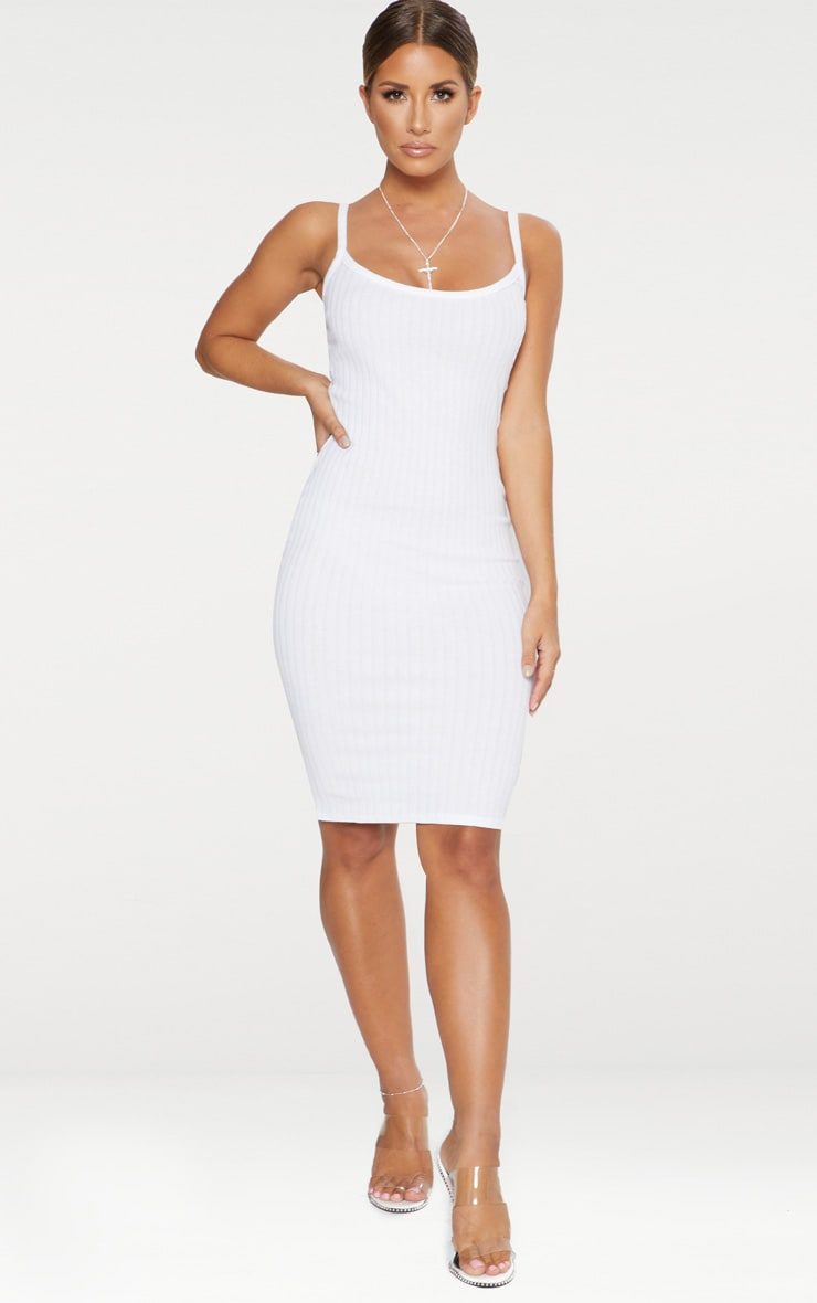 White Thick Ribbed Plunge Midi Dress 1