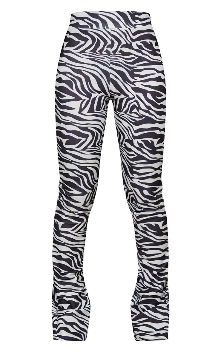 Monochrome Zebra Back Split Hem Skinny Trousers 5