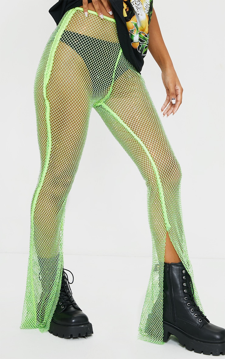 Lime Diamante Fishnet Split Hem Pants 2