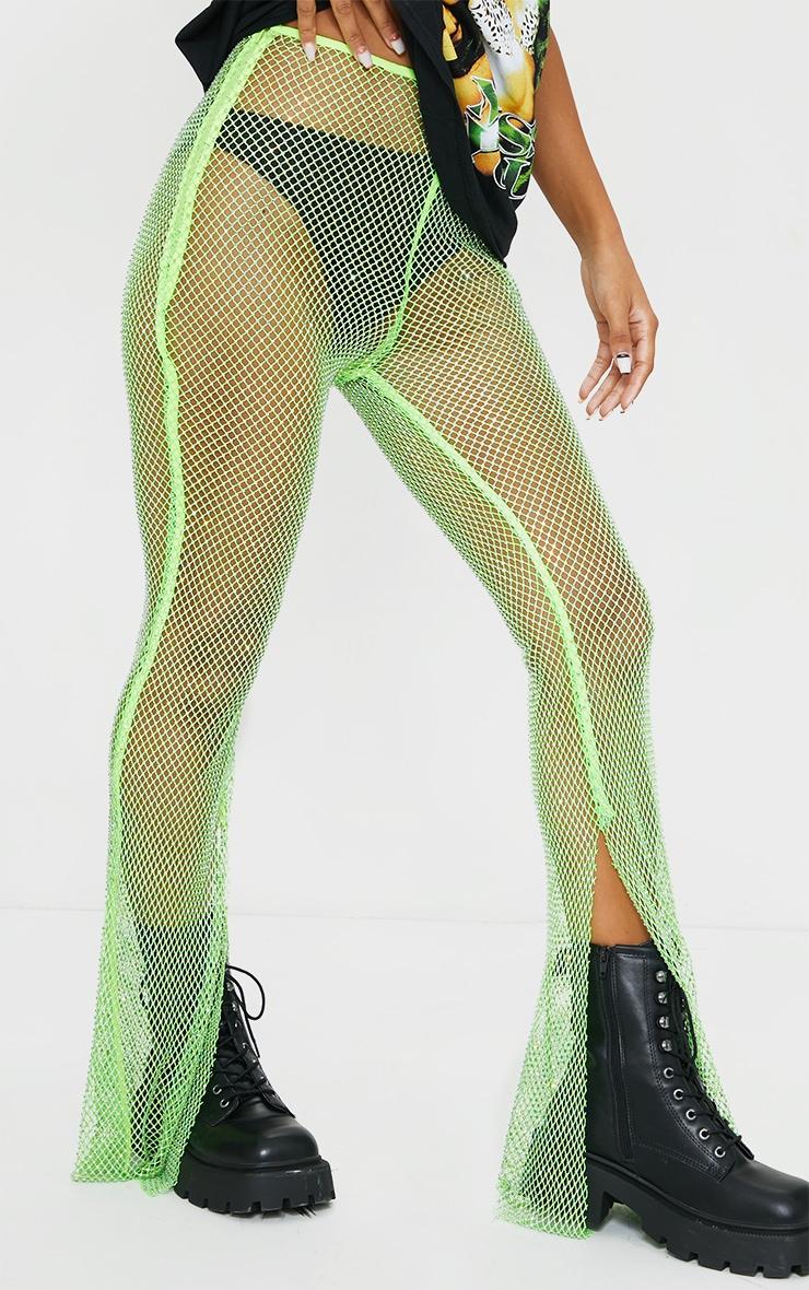 Pantalon en résille vert citron strassé à ourlet fendu 2