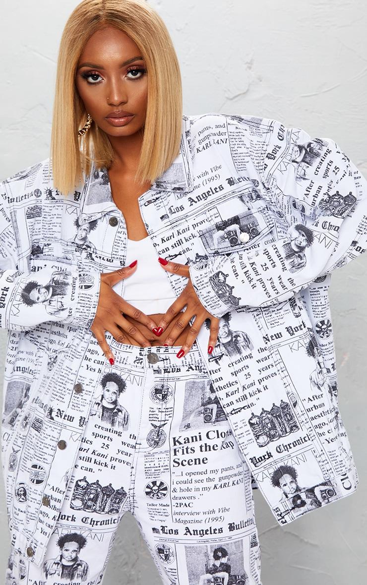 KARL KANI Monochrome Newspaper Oversized Denim Jacket 3