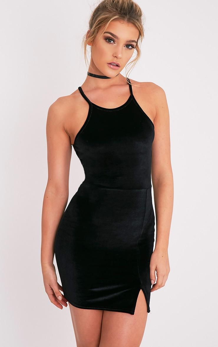 Aniqah robe moulante noire en velours à détail fendu 1