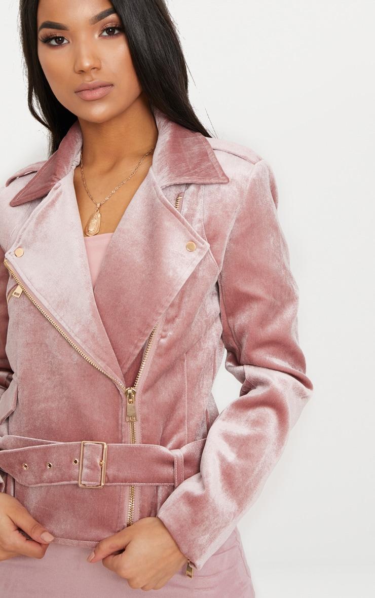 Blush Velvet Biker Jacket 5