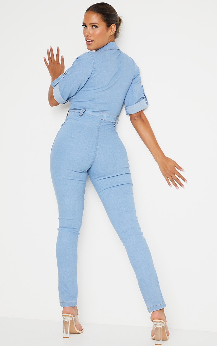 Shape Light Blue Wash Short Sleeve Zip Detail Denim Jumpsuit 2