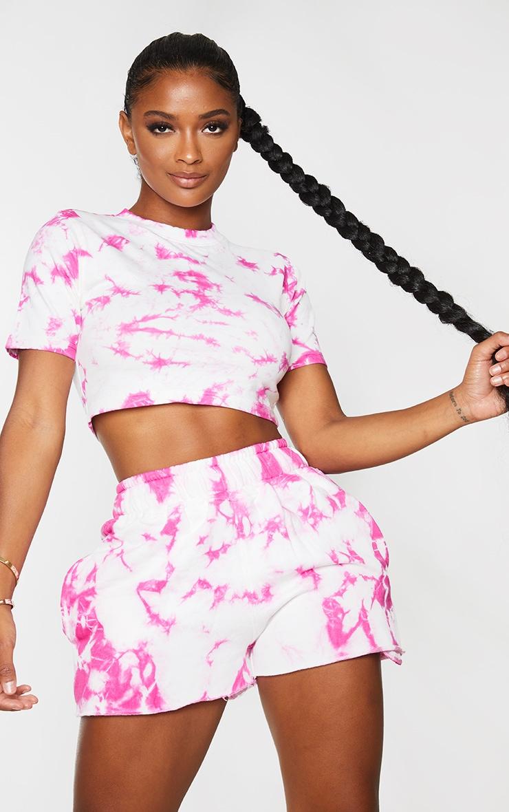 Shape Pink Tie Dye Cotton Short Sleeve Crop Top 1