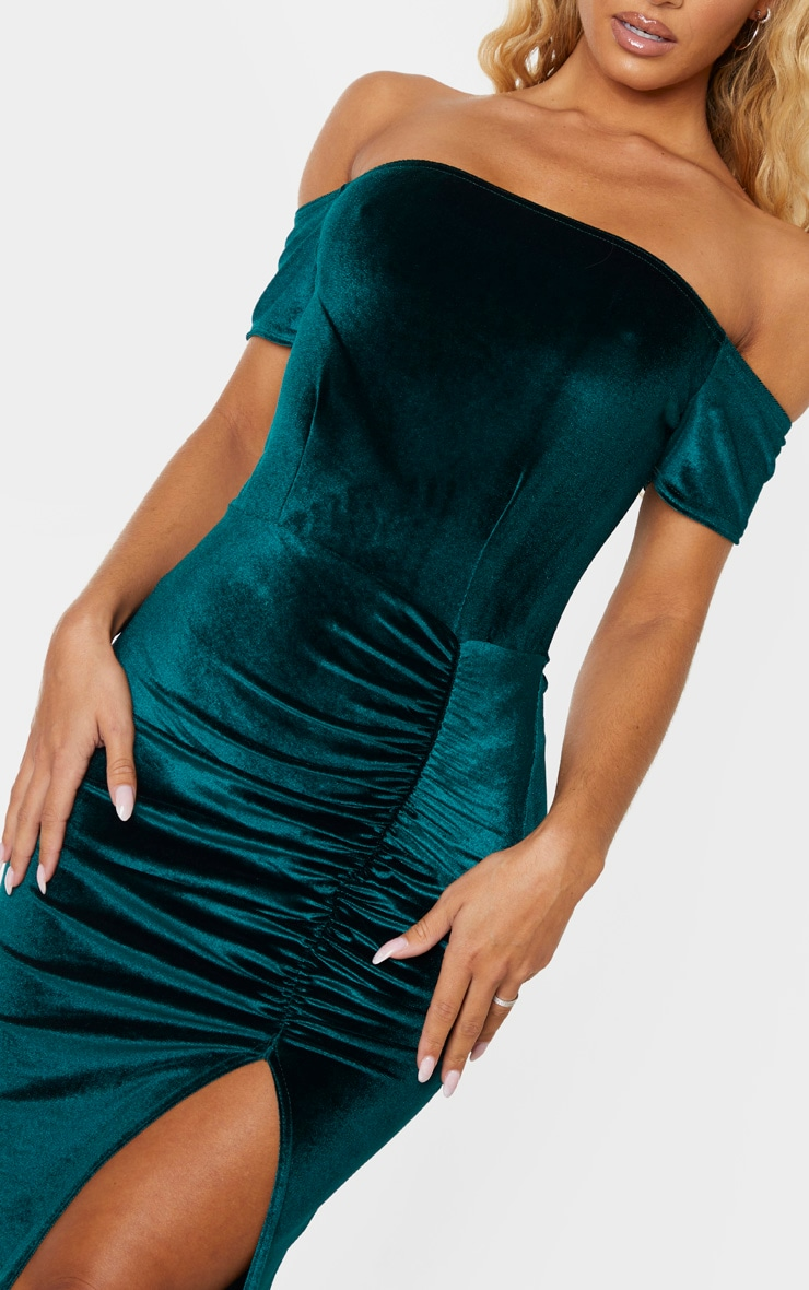 Emerald Green Velvet Bardot Ruched Skirt Midi Dress 4