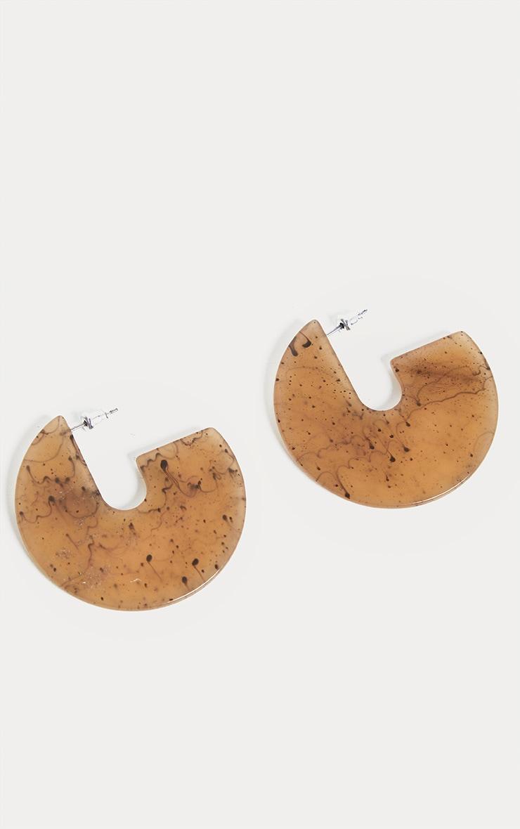 Boucles d'oreilles disque 3/4 en résine marron clair 2