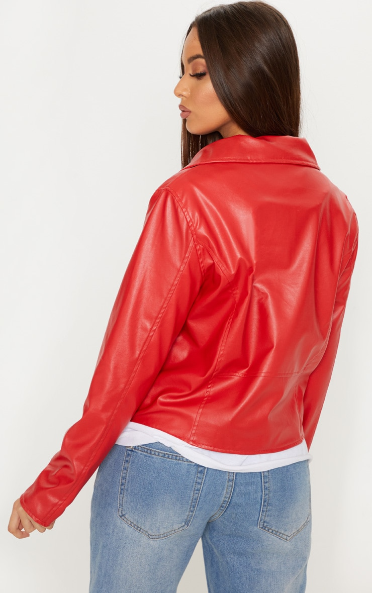 Bright Red PU Biker Jacket 2
